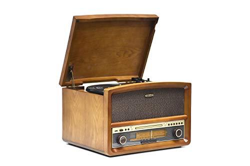 REFLEXION HIF1937 Retro Stereo-Anlage mit Plattenspieler, Kassette, CD-Player und Radio (CD / MP3, USB, LCD-Display, Fernbedienung, 40 W), braun