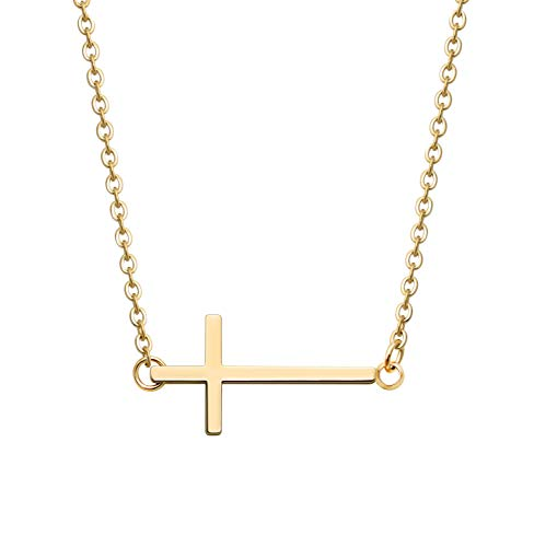 KristLand -18K Rose Gold / S925 Silver Bar Short Necklace Simple Solid Cross Necklace Adjustable Long Choker 18K Gold Cross