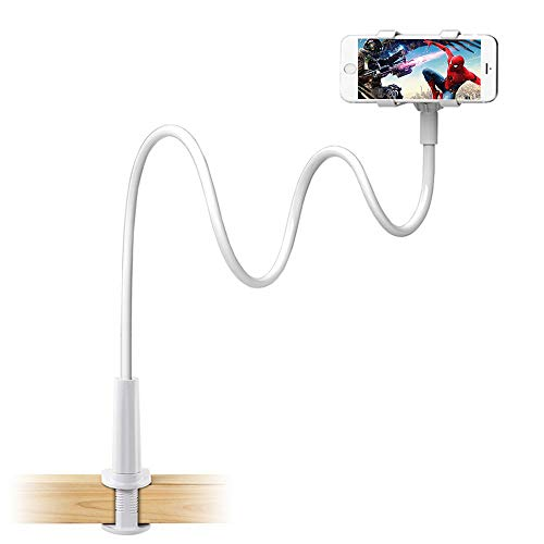 Enllonish Supporto Telefono, Collo Oca Supporto Regolabile: Universale 360 Gradi Rotazione Stand per iPhone 11 Pro Max XR X 8 7 6 Plus, Samsung, Huawei , LG, Altri Smartphone - Bianco