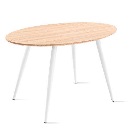 Mc Haus FIKKA - Mesa Comedor Ovalada de madera MDF diseño Escandinavo con patas color Blanco lacadas, Mesa cocina salón 129x79x75cm