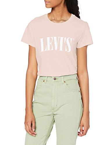 T-shirt Levi's The Perfect Tee, Serif Logo Sepia Rose, X-Small Donna