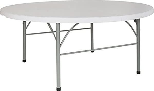 Emma Oliver 72 Round Portable Bi Fold Granite White Plastic Banquet Event Folding Table