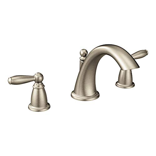 Moen T4943BN Brantford 2-Handle Deck Mount Roman Tub Faucet Trim Kit, Valve Required, Brushed Nickel