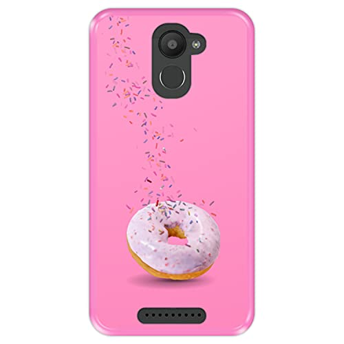 Hapdey Funda Rosa para [ Bq Aquaris U Plus ] diseño [ Donut, Sabor a Fresa ] Carcasa Silicona Flexible TPU
