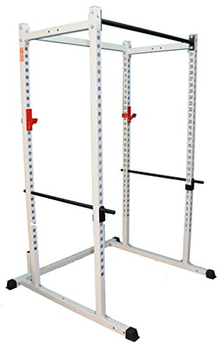 Power rack WHITE 1000lb Rated. 2 Inch Heavy Gauge Sq. Tube with 1 inch holes. 2 inch hole centers for fine adjustment with bold letters. Designed to add variety of attachments. 1000lb rated J Hooks