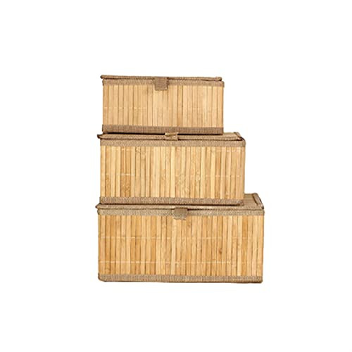 Oven Cesta Tejida con Tapa, cestas de Almacenamiento apilables, Juego de 3 para estantes, Dormitorio, Armario y Cesta de Almacenamiento de Juguetes
