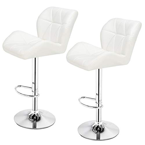 2pcs SSJ-275 Oblique Checks Bar Stool White