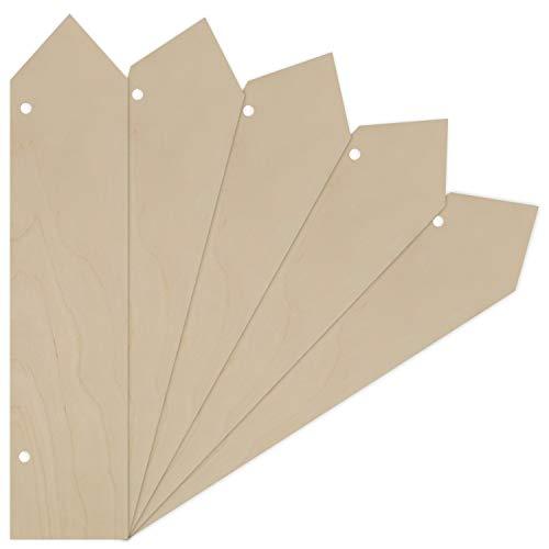 Creative Deco 5 x Große Holz-Zeiger Anhängers aus Sperr-Holz | 40 x 9 cm | Unlackierten Form-Scheiben | Perfekte Ausschnite für Bemalen, Dekorieren, Geschenk & Decoupage