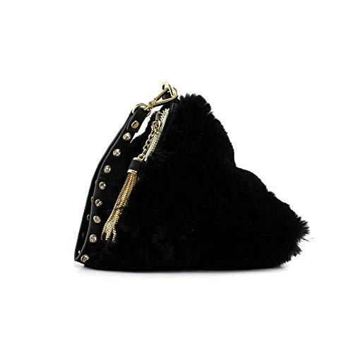 Ermanno Scervino Borsa pochette triangolare donna eco pelliccia nera con ciondolo. Laccio in pelle da portare al polso e chiusura con cerniera.