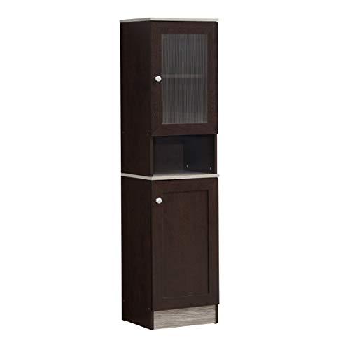 Hodedah Schmales offenes Regal mit oberer und unterer Aufbewahrungsmöglichkeit, 160 cm hoch, schokoladengrau