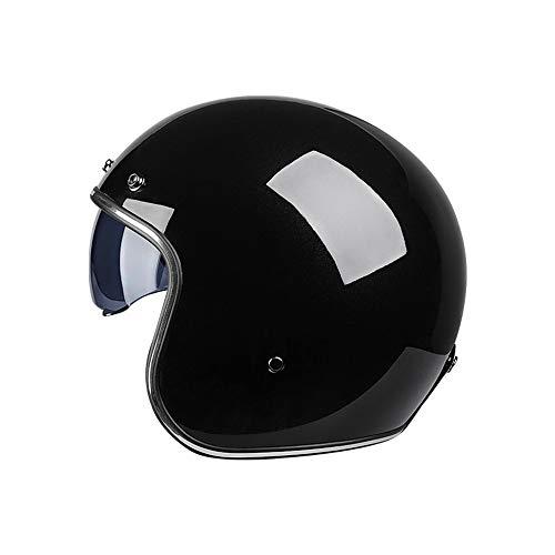 DaMuZ Vintage Open Face Helmet Motorbike Crash Helmet with Sun Visor Motorcycle Half Face HelmetDOT/ECE Approved Half Face Cycling Helmets Moped Street Bike Helmet for Men Women