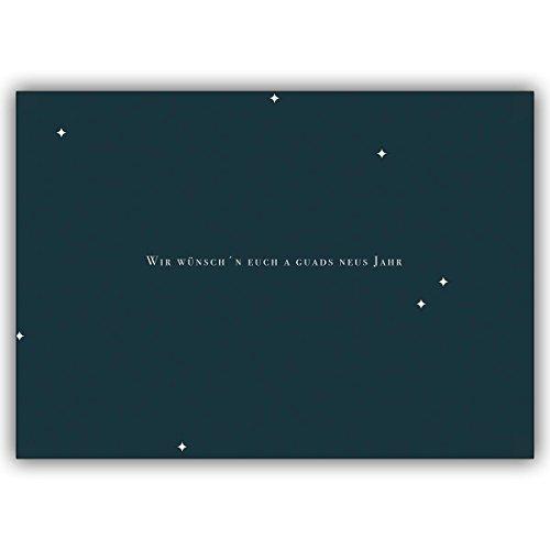 16 Weihnachtskarten (16er Set): Schicken Sie Weihnachtsgrüße auf Bayrisch mit dieser Typografie Weihnachtskarte • als liebevolle Weihnachtspost mit Umschlag zum Jahreswechsel für Familie und Firma