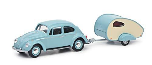 Schuco 452022500 VW Escarabajo con Remolque de Caravana, Caravana ES Piccolo, Escala 1:64, Color Turquesa