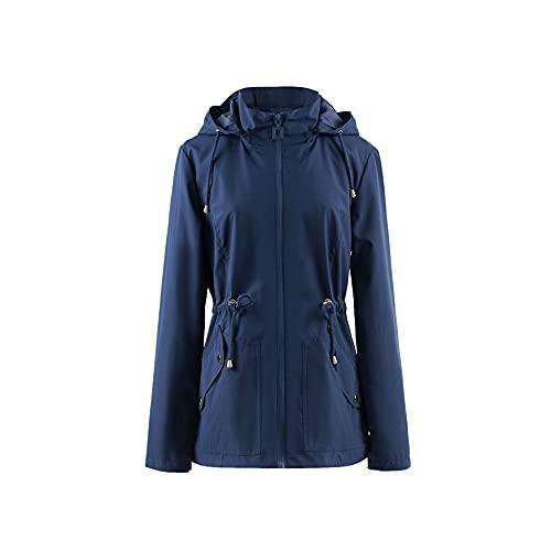 Polydeer Women s Lightweight Waterproof Raincoat Breathable Windbreaker Jacket Active Outdoor Hooded Switchback Poncho (Navy,XL)