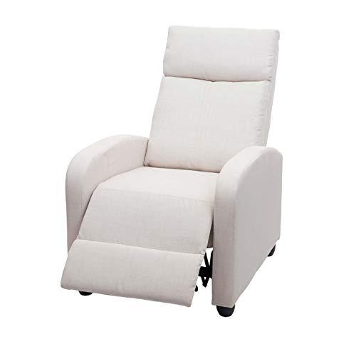 Mendler Fernsehsessel HWC-F76, Relaxsessel Sessel Liegesessel, Liegefunktion verstellbar Stoff/Textil ~ Creme