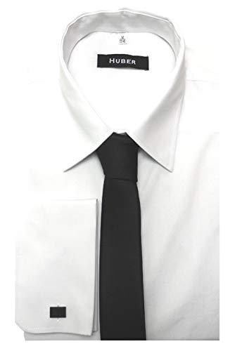 HUBER Manschettenhemd Weiss incl. Krawatte schwarz S