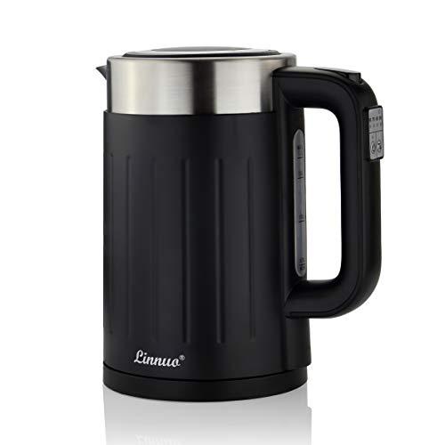 Linnuo Edelstahl Wasserkocher mit Temperatureinstellung 50-100 °C, Warmhaltefunktion, 2200W, 1,7 Liter, Kalkfilter - Wasserkocher Schwarz matt doppelwandig - Electric Kettle BPA frei - für Tee, Kaffee