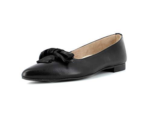 Paul Green Damen Schnürballerina 3731, Frauen Klassische Ballerinas, geschäftsreise büro Flats sommerschuh elegant Schleife,Black,38 EU / 5 UK