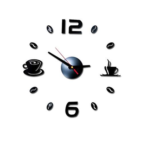 JINHH Küchen-Wand-Uhr, Cafe DIY Große Wanduhr Frameless Riesen Wanduhr Modernes Design Café-Kaffeetasse Kaffeebohne-Wand-Dekor New