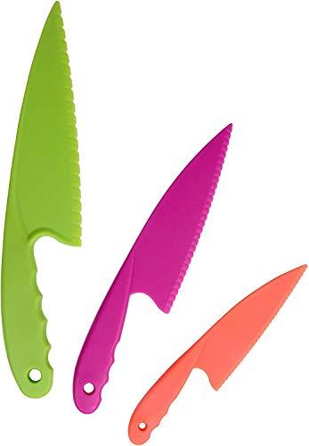 Juego de 3 Cuchillos de Cocina de Plástico, Cuchillos de Cocina de Nailon para Niños, Cuchillos de Cocina de Plástico Coloridos y Seguros para Hornear, Frutas, Pan, Pastel, Cuchillo de Lechuga