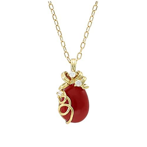 新宿銀の蔵 K18 血赤珊瑚 ネックレス ダイヤモンド 珊瑚 サンゴ コーラル 赤 天然 18金 18k ドロップ リボン 華やか 上品 可愛い