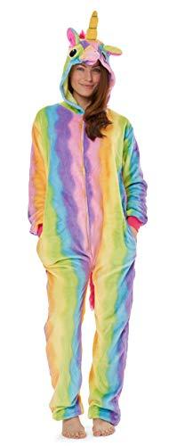 CityComfort Pyjama Onesie Für Damen Lang Tier Cosplay Kostüme aus Fleece Damen Einhorn Schlafanzug Jumpsuit Overalls Onesie Kostüm Fasching Karneval Kostüm Für Erwachsene (M, Einhorn)