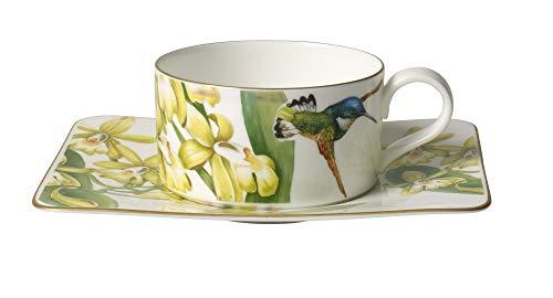 Villeroy & Boch Amazonia Tasse à thé avec Assiette, 2 pièces, Porcelaine Bone China, Multicolore