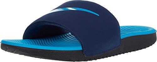 Nike Kawa (GS/PS) Slide Sandal, Midnight Navy/Laser Blue-Black, 38.5 EU