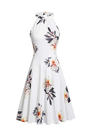 OUGES Damen Sommerkleid Neckholder Ärmellos A Linie Kleider Blumenmuster Baumwolle Kleid Knielang Cocktailkleid(Floral21,M)