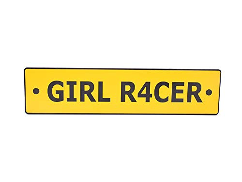 OriginDesigned Girl Racer Novelty Scooter License Plate Sign Yellow Acrylic - Perfect