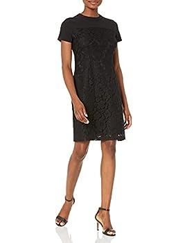 Amazon Brand - Lark & Ro Women s Short Sleeve Crew Neck Lace Mixed Dress Black 12
