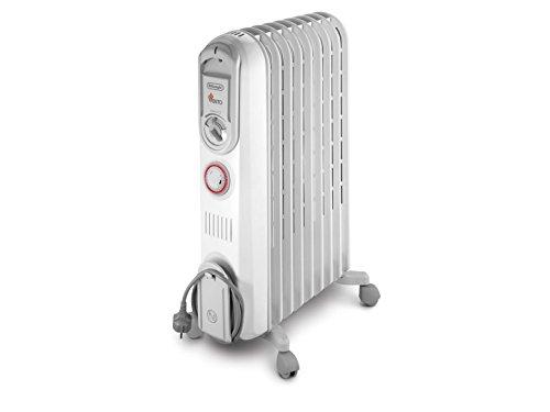 De'Longhi Vento Radiatore Elettrico ad Olio, 900 W, Plastica, Bianco