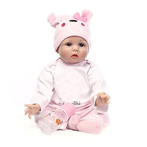 Nicery Reborn Baby Doll Renacer Bebé la Muñeca Vinilo Simulación Silicona Suave 22 Pulgadas 55cm Boca Natural Niña Niño Juguete vívido Pink Bear Lucy