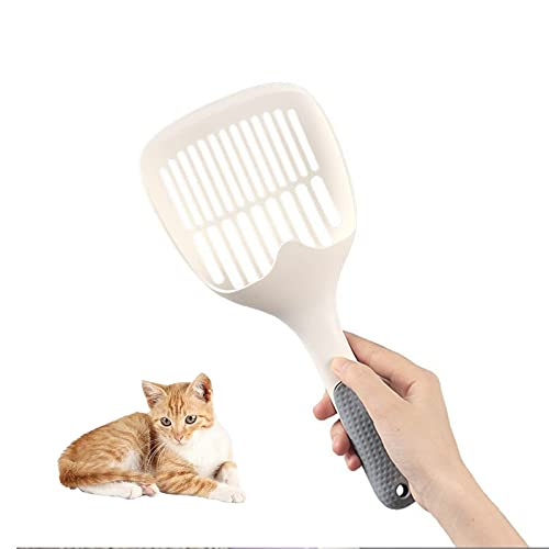 Palas para Arena de Gatos,Pala de Plástico para Arena de Gatos Mango Largo,Durable Cat Litter Scoop Pala Recoge Cacas Gato,Tamiz Hueco Herramienta de Limpieza de Arena para Mascotas