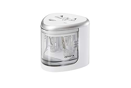 Genie PS 120 Electric Pencil Sharpener, Suitable for All Pencils, Colouring Pencils, Wax Crayons & Eyeliner Standard Size, Double Sharpener for 6-8mm (Normal) & 9-12mm (Jumbo), White