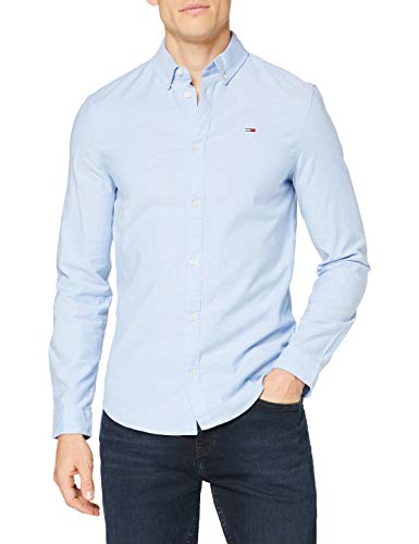 Tommy Jeans Herren TJM Slim Stretch Oxford T-Shirt, Parfüm Blau, S
