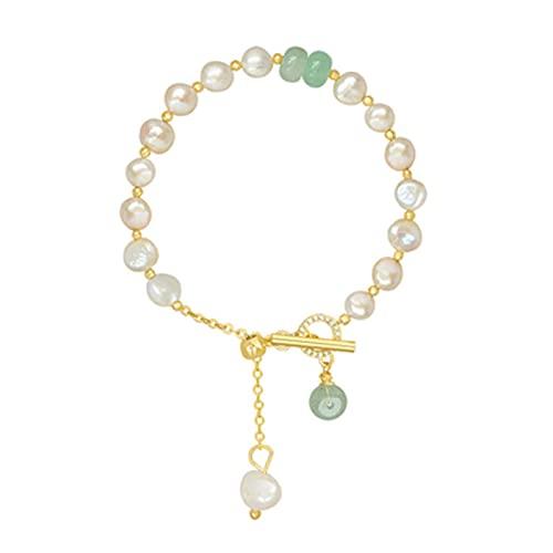 LYNLYN Pulseras Joyería de Temperamento Simple Adecuado para Regalos Dar Pearl Protección Pulsera Pulsera Mujer S Pulsera Joyería Joyería de Lujo Dorado (Color : Golden)