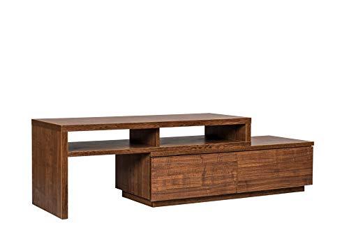 Marca Amazon - Movian Mueble de TV modular con 2 cajones SAB-100, Marrón (Roble oscuro), L100-185 x P38.8 x A41.1 cm