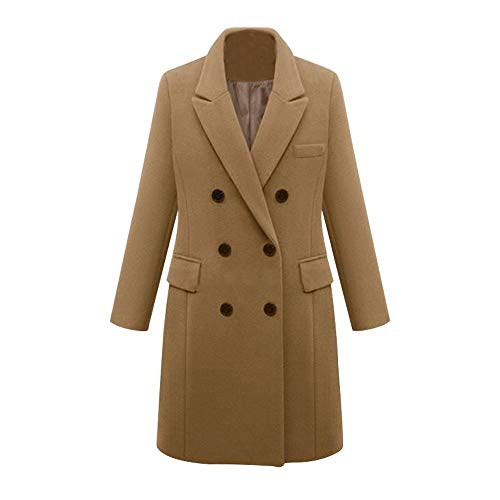 Lulupi Cappotti da Donna Lana Invernale Soprabito Giacca Doppiopetto Collo A Rever Trench Overcoat