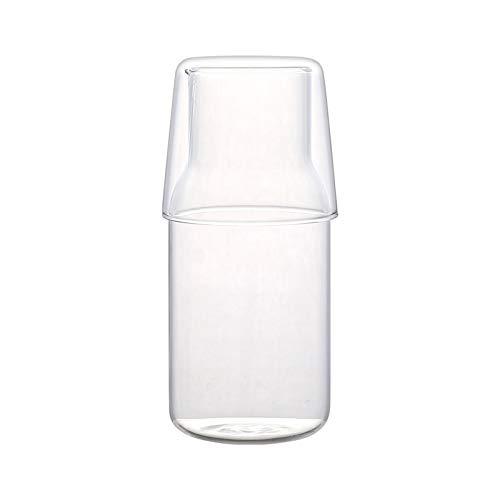 Jarra de agua con taza de agua para el hogar, jarra de vidrio resistente a altas temperaturas, para zumos, leche, bebidas frías y calientes, jarra de agua (tamaño mediano)