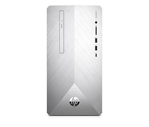 HP Pavilion 595-p0002nl Desktop PC, Intel Core i7-8700X, RAM da 8 GB, SATA da 1 TB, NVIDIA GeForce GTX 1050 Ti, Argento Naturale [Layout Italiano]