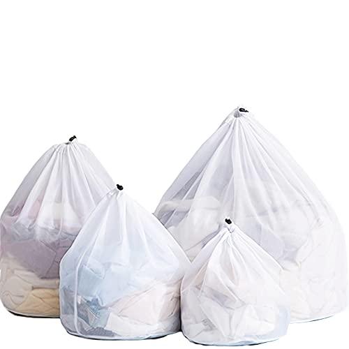 ACTTGGJ Bolsas de Malla de 4 Tamaños,Bolsas de Lavado para Lavandería,Bolsas de Lavado a Máquina con Cordón Reutilizable y Duradero para Ropa Interior,Calcetines,Camiseta,Ropa de Bebé(Malla fina)