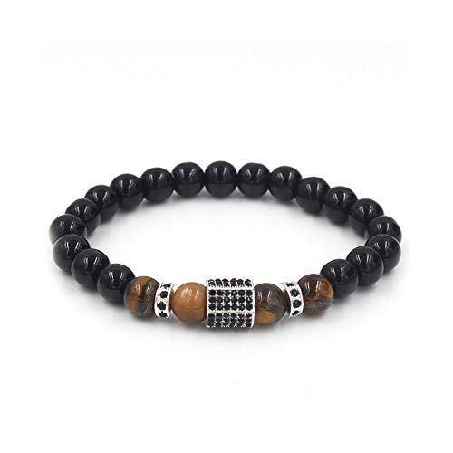 1 unid hombres pulseras cuentas pulseras para hombres negro piedra incrustada Zircon plata espaciador pulseras