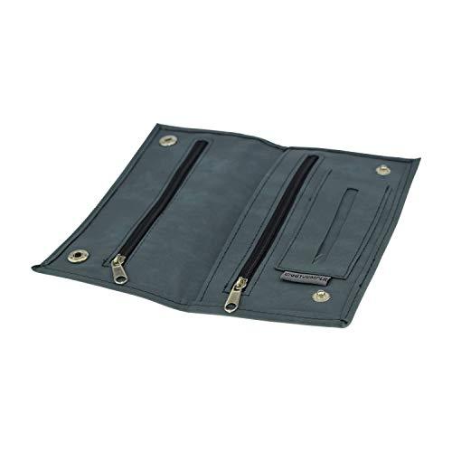 Tabaktasche Ciggy Jumper® im Premium Used Leather Style mit Single, doppel oder Langen Blättchen Fach, Tabak-Beutel Drehertasche mit Filterfach Blättchenhalter div. Farben (Single Blue)
