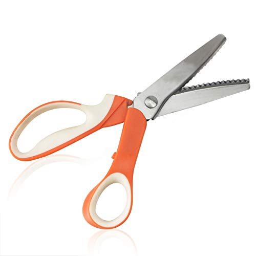 seaNpem Tijeras de vestir de acero inoxidable, tijeras de corte Zig-Zag profesionales, para decorar manualidades, con mango de agarre grande (naranja, blanco, dentado, 5 mm)