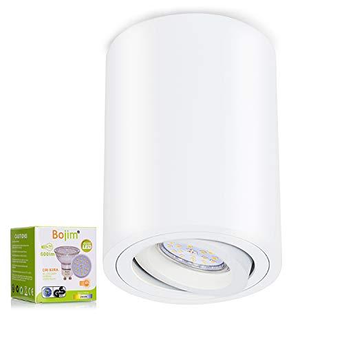 Bojim - Lámpara de Techo LED Giratoria 30°, Textura Mate, Equipada con Bombilla GU10 de 6 W, Luz Cálida 2800 K 600 lm, Redonda de Color Blanco con Nivel Impermeable IP20, Lámpara de Techo para Salón