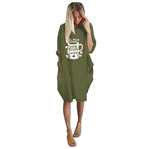 GreatestPAK Damen Taschen Pullover Minikleid Übergröße Baggy Langarm Lose Kleider,Armeegrün,2XL