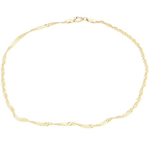 Jollys Jewellers Pulsera de oro amarillo de 9 quilates para mujer de 22,8 cm (2 mm de ancho)