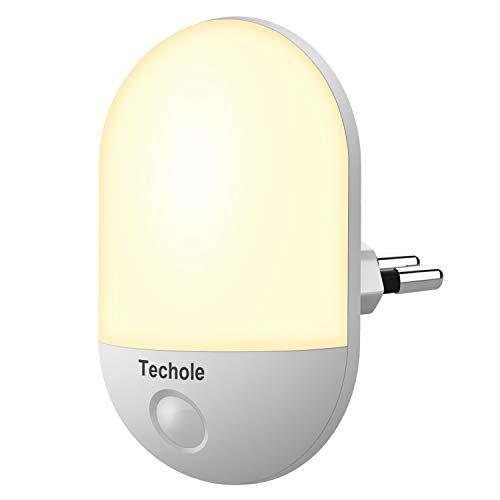 Nachtlicht Steckdose mit Dämmerungssensor Techole LED Nachtlicht Baby, Automatik EIN/AUS, Stromsparendes Orientierungslicht für Kinderzimmer, Schlafzimmer, Küche, Badezimmer, Flur [Warmweiß]