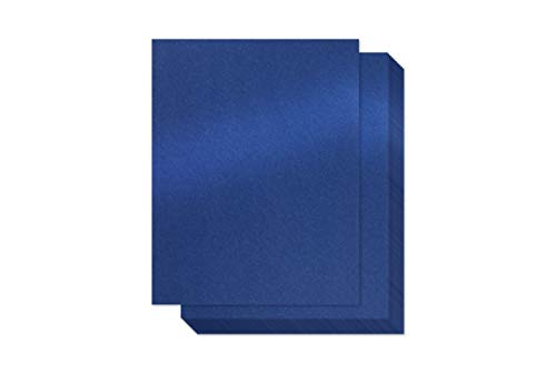 Navy Blue Shimmer Paper - 100-Pack Metallic Cardstock Paper, 92 lb Cover, Double Sided, Printer Friendly - Perfect for Weddings, Birthdays, Craft Use, Letter Size Sheets, 8.5 x 11 Inches